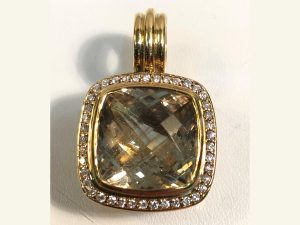 18k gold 14mm champagne and citrine diamond pendant full view