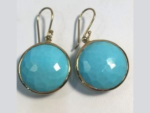 18k gold and turquoise lollipop earrings close up