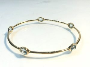 18k gold Rock Candy Bangle with Swiss Blue topaz side view