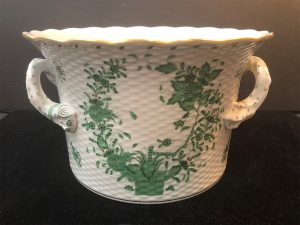 Large Indian Basket green handled cachepot full view