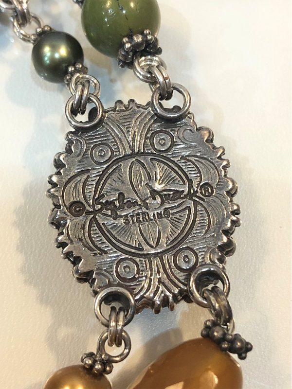Stephen Dweck multi-gem necklace in sterling silver detail