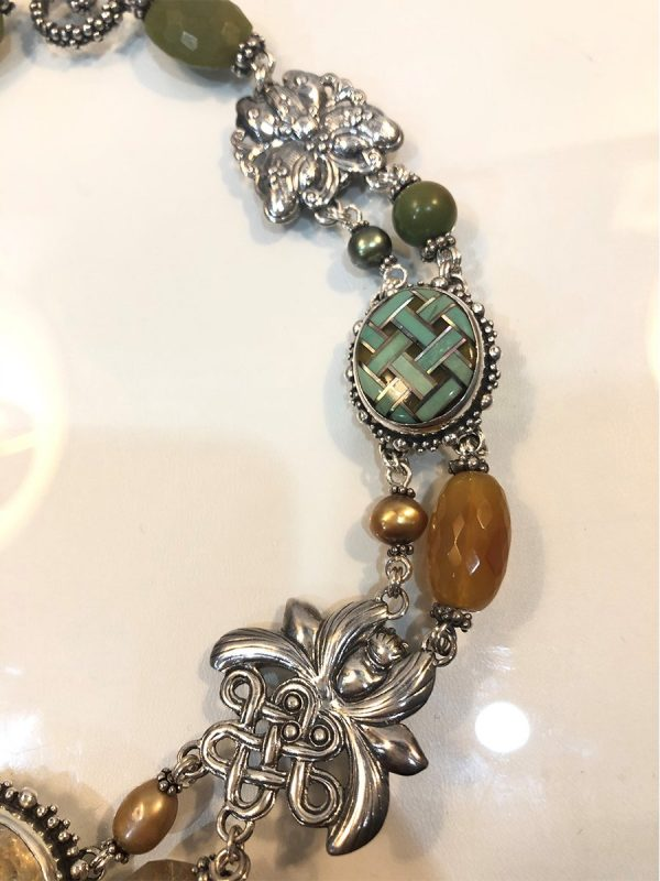 Stephen Dweck multi-gem necklace in sterling silver close up
