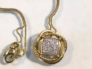 david yurman 18k gold infinity necklace with diamonds