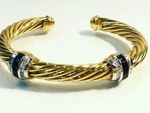 david yurman 18k gold cable bracelet with sapphires and diamonds detail