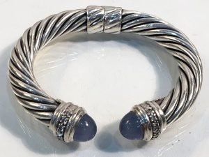 10mm hinged cable bracelet with blue chalcedony and diamonds in sterling silver close up