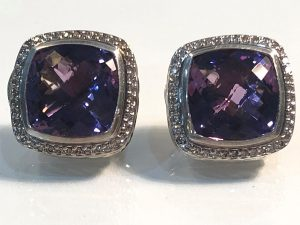 14mm albio earrings with amethysts and diamonds in sterling silver