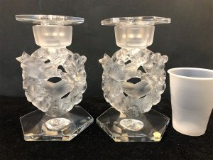 pair of mesanges candle holders with bobeches side view